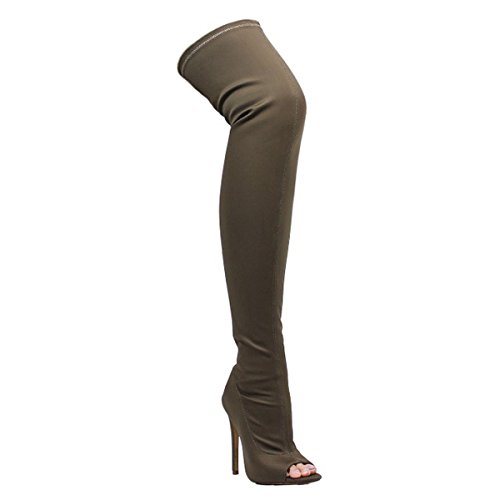 Liliana Pointy Toe Drawstring Stiletto Elastane Over The Knee Boot Bootie Connely8a Taupe amB4tK