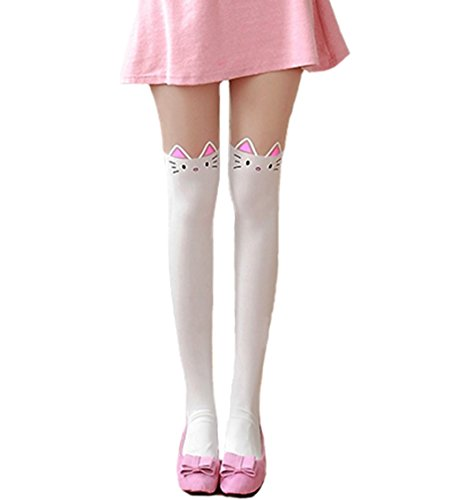 [Sankill Cartoon Kawaii Knee High Tattoo Tights (white cat)] (White Cat Costume For Women)
