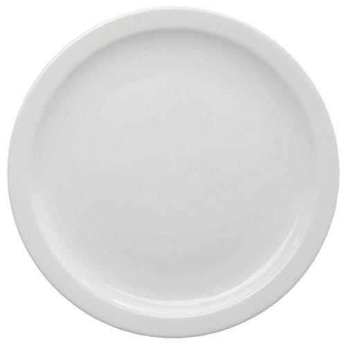 - HUBERT Salad Plate Narrow-Rim Stoneware Bright White - 7 1/4