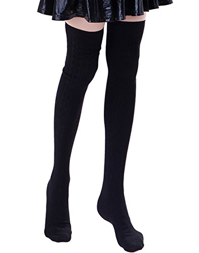 Solid Thigh High Sock (HDE Women's Stockings Solid Color Opaque Cable Knit Over The Knee Socks)