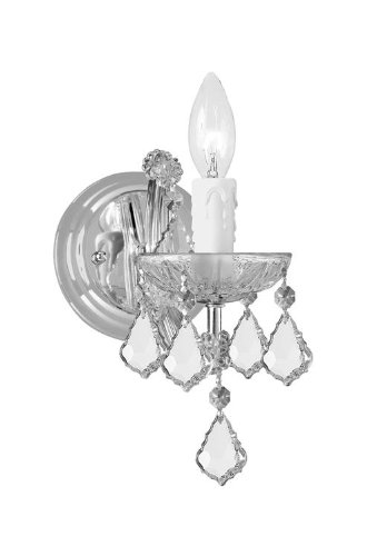 Light Sconce Crystal 1 (Crystorama 4471-CH-CL-MWP Crystal Accents One Light Sconces from Maria Theresa collection in Chrome, Pol. Nckl.finish, 8.00 inches)