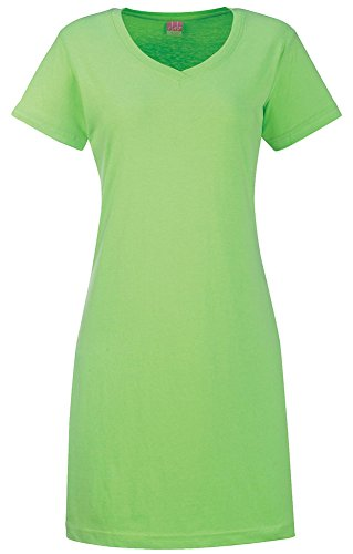 LAT Women's Fashionable Topstitch Ribbed Dress T-Shirt, Key Lime, (Lat Ribbed T-shirt)