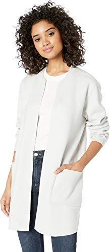 cupcakes and cashmere Women's Westlake Sweater Jacket with Rib Details, Heather ash, Medium