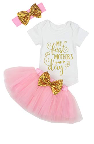 My First Mothers Day Baby Girl Outfit Letter Print Romper+Tutu Dresses Shorts+Headband 3PCS Skirt Set