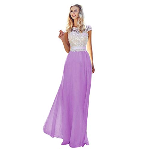 - Casual Summer Dress for Women,YEZIJIN Sexy Women Lace Chiffon Patchwork Bandage Boho Evening Party Long Dress Purple