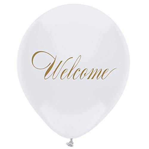 MAGJUCHE White Welcome Latex Balloons, 16 pcs Gold Party Decorations for Wedding, Birthday, Baby Shower, Bachelorette, 12 -
