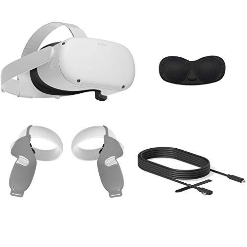2020 Oculus Quest 2 All-in-One VR Headset, 64 GB SSD, compatible con gafas, audio 3D, cable Mytrix Link (10 pies), cubierta de agarre, cubierta de lente