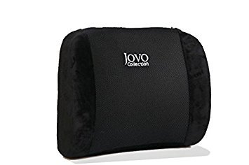 Jovo Collection Premium Memory Foam Back Cushion - Lumbar Support Pillow Designed for Lower Back Pain Relief - Lumbar Pillow for Car, Office/Computer/Home Chair, Recliner - Adjustable Strap - Black