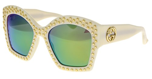 GUCCI Gold STAR Stud GG3870S Oversized Ivory Lime Mirrored Sunglasses - Mirrored Sunglasses Gucci