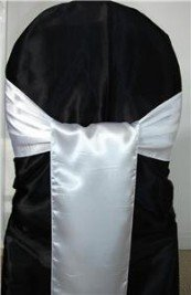 MDS Pack of 50 satin chair sashes bow sash for wedding and Events Supplies Party Decoration chair cover sash - White (White Covers Chair Wedding)