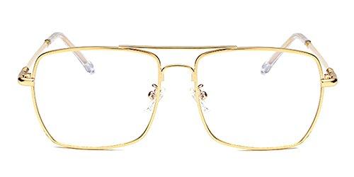 Slocyclub Mens Rectangular Flat Top Full Rimmed Metal - Gold Rimmed Eyeglasses