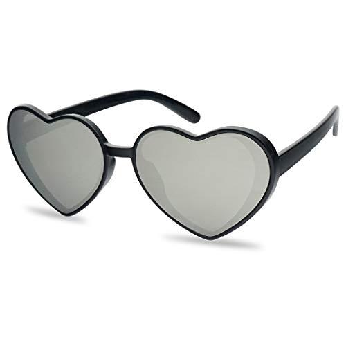 IHeart Cute Festival Colored Mirrored Lens Oversized Heart Sunglasses (Black Frame | Silver)