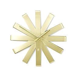 Umbra Ribbon Modern 12-inch Wall Clock, Silent Non Ticking Battery Operated Quartz Movement, Brass