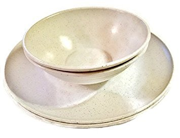 Microwave Safe Plates and Bowls 4 Piece Eco-Friendly Dinnerware Set