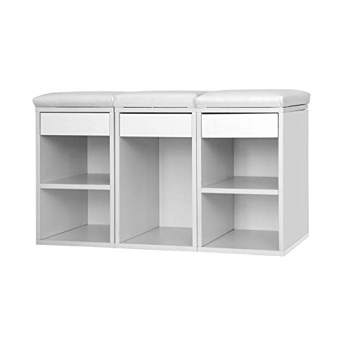 Shoe Cabinet Seat 5 Compartments Hallway Bench Padded Shoe Storage And Rack  Shelves White Footwear U4wUqrfF ...