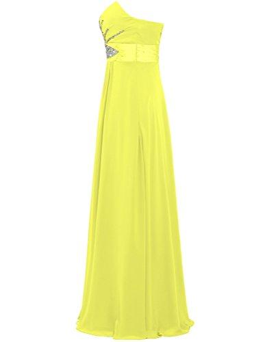 Giallo Donne Prom Senza Perline Delle Del Colore Spalline Abito Di Partito Vestito Lungo Formiche Chiffon qpwSAR6