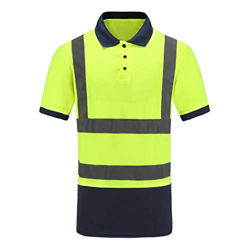 Working Wear Reflective Polo Shirt,A-SAFETY, Birdseye Polyester High Visibility Safety Tee, Lime-yellow, L ()