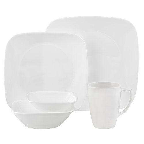 Corelle Square Pure White 30-Piece Dinnerware Set, Service for 6