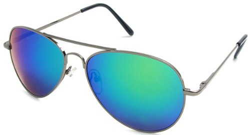 MJ Eyewear Classic Air Force Aviator Style Sunglasses (Gunmetal, Blue-Green Color Mirror - Blue Gunmetal Color
