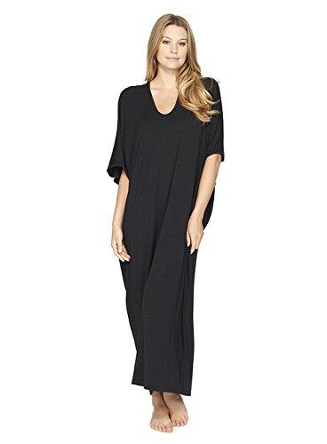 Barefoot Dreams Luxe Milk Jersey Caftan OS Midnight (Milk Silk Women)
