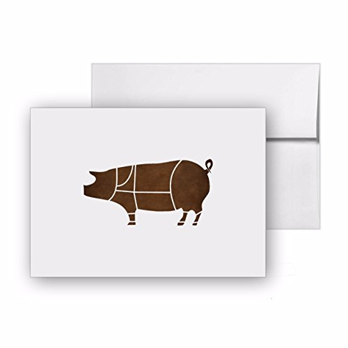 Pork Animal Pig Butcher Bbq, Blank Card Invitation Pack, 15 cards at 4x6, with White Envelopes, Item - Bar Invitation 4 Folded Card