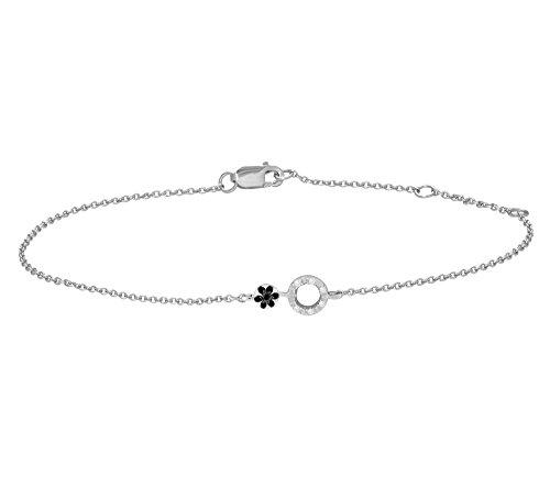 Or Blanc 9 ct Bracelet Diamant en forme de Rond, 0.07 Ct Diamant, GH-SI, 1.69 grammes.