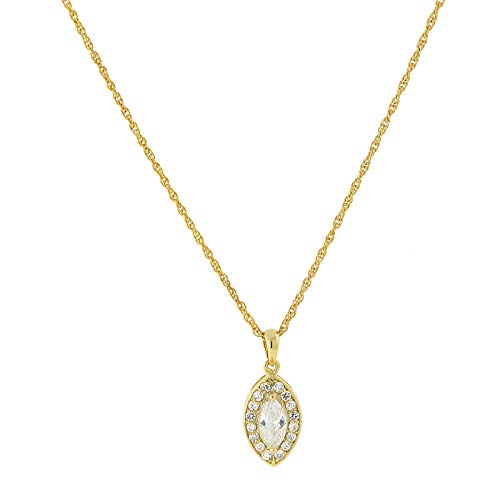 1928 Jewelry 14k Gold-Dipped Marquise-Shaped Cubic Zirconia Adjustable Pendant Necklace, 16