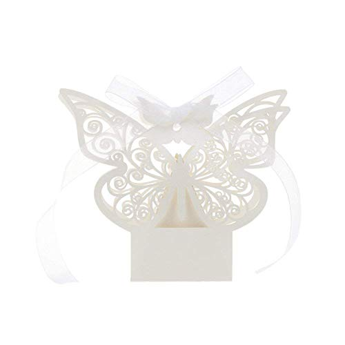 Nicedeal 50pcs Laser Cut Butterfly Wedding Favour Box Birthday Party Gifts Candy Boxes Bomboniere by Wall Sticker and ()