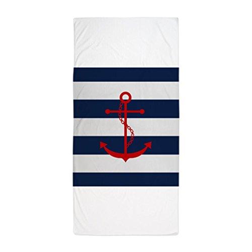 Nautica Cotton Bath Towel (Zhiqing Red Anchor on Blue Stripes Microfiber Beach Towel 70*140cm)