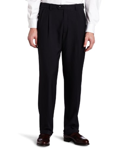 Navy Dress Pants Blue Slacks (Haggar Men's Big-Tall Repreve Stria Pleat Front Dress Pant, Navy, 46x30)
