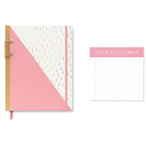 Calendar Perpetual Weekly (Designworks Set Square Note Pad Good Vibes Only and Pink Iridescent Perpetual Calendar Planner)