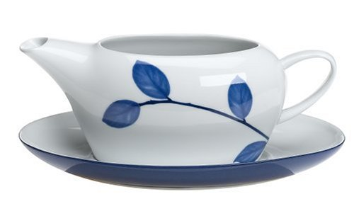 Mikasa True Blue 2-Piece Gravy Boat with Stand