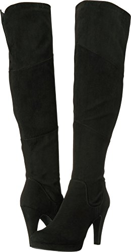 Unlisted by Kenneth Cole Women's Smooth Film Platform Heeled Stretch Over The Knee Boot, Black, 10 Medium US