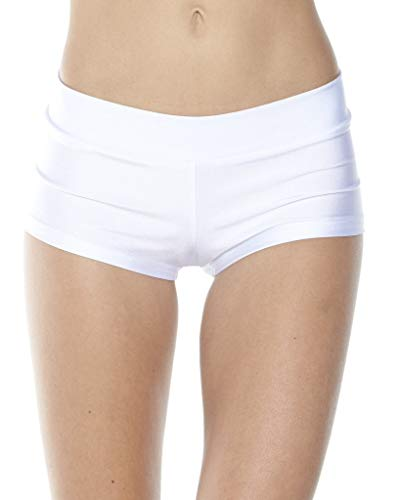 (iHeartRaves White Solid Rave Booty Shorts (Medium))