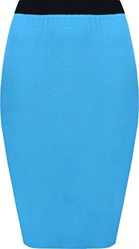 lgant Taille mi GirlzWalk lastique Plaine Turquoise Mesdames Stretch Bodycon Longue Jupe Crayon 0Z1CZ7pn