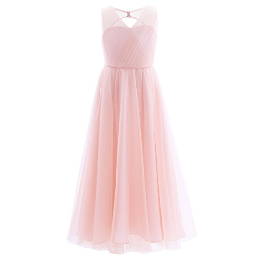 iEFiEL Girls Cross V-Neck Flower Girl Long Tulle Dress Junior Bridesmaid Pageant Gown Pink 14