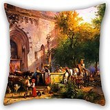 Artistdecor Oil Painting Friedrich Gauermann - At The Monastery Fountain Pillow Covers ,best For Boy Friend,monther,home,saloon,gf,coffee House 18 X 18 Inches / 45 By 45 Cm(2 Sides)