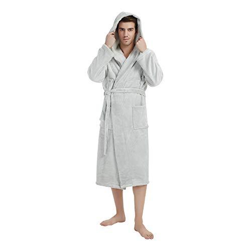 (U2SKIIN Mens Fleece Hooded Robe Plush Bathrobe (Light Grey, L/XL))