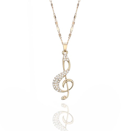 Women, Music Note Pendant Necklace with Brilliant Crystal for Girls Long Chain Rhinestone Necklace Shining Cubic Zirconia Necklace (Gold Plated) ()