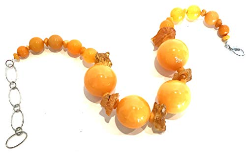 Hand Made Yellow Fiber Optics, Resin Amber Choker Necklace One of a kind Classic Jewelry