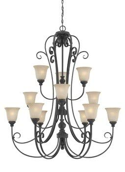 - Craftmade Lighting 24212-MB Barret Place - Twelve Light Chandelier, Mocha Bronze Finish