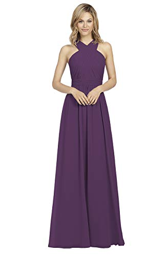 - Long Halter Pleated Chiffon with Keyhole Back A-line Plum Bridesmaid Dress Evening Formal Party Gown Size 16