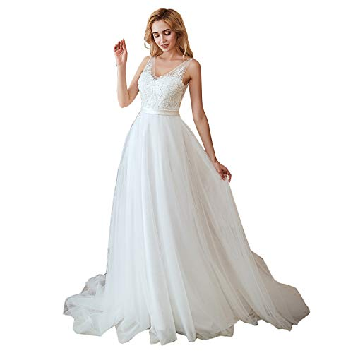 264ec150de981 Leyidress Beach Wedding Dress Bridal Gowns Applique Bead A line Long Dress  Women