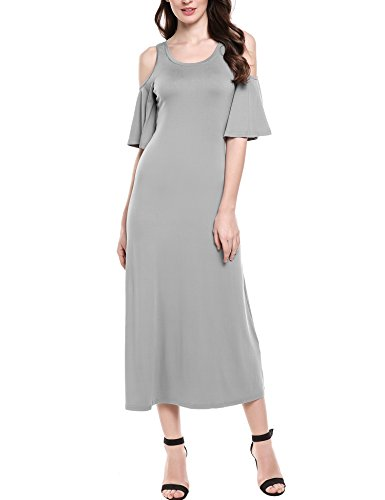 Meaneor Women's Cold Shoulder Short Ruffle Sleeve Casual Long Maxi Dress Gray M