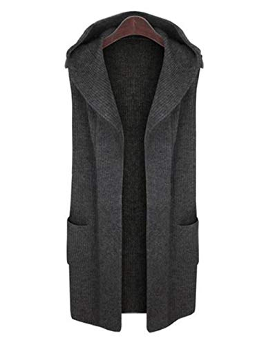 LUO&YL Sleeveless Open Front Vest Solid Hoodie Cardigan Sweater with Pockets