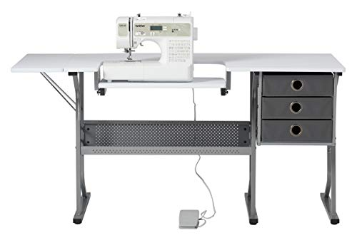 Craft & Hobby Essentials 62007 Machine Platform Table with Drawers, Shelf and Drop Leaf Top, Craft, 60.25