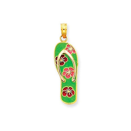 Diamond2Deal 14k Yellow Gold Enameled Flowers on Green Flip Flop Pendant