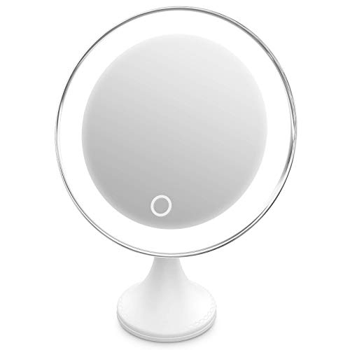 10x Magnifying Makeup Mirror with Lights, 360°Swivel, 3 Colors Adjustable, Screen Touch Button, Portable, with Reusable…