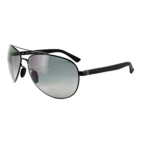 Gucci 2266S MPZ Matte Black Shiny Black 2266S Aviator Sunglasses Polarised - Aviator Gucci Sunglasses Black Matte