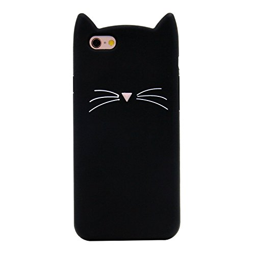 (Luxury Designer Soft Silicone Rubberized Cartoon Black Cat Case for Apple iPhone 6+ / iPhone 6s Plus 5.5
